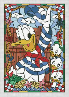 Disney cross stitch pattern Donald Duck in pdf.