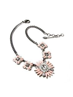 Princess Joan Peach & Ivory Floral Station Necklace by Amrita Singh at Gilt