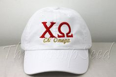 Ladies Chi Omega Sorority Baseball Cap with Greek Letters and the Name Spelled Out Underneath. You can pick your school color, sorority color, or   @leighgustafson