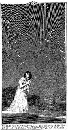 venusmilk: Pen & Ink drawingIllustration by Franklin Booth- illustrated myth - She rose and wondered…kissed her strange children crept to the door and fled…back to the forest.