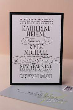 new year's eve wedding invitations, new years eve wedding invitation, invitation different fonts, black and white invitation, modern invitations, vintage invitations