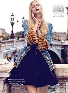 Ruffled Chanel jacket and velvet Lanvin dress | for Flare magazine Oct '12