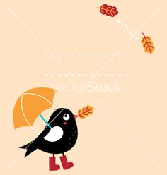 Cute autumn greeting card with cartoon bird vector by lordalea on VectorStock®
