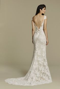 Bridal Gowns, Wedding dresses by Tara Keely Style 2607 - Ivory Cashmere Alencon lace sheath gown, bateau illusion neckline with sweetheart underlay and lace detail, deep V back, beading at natural waist and chapel train.