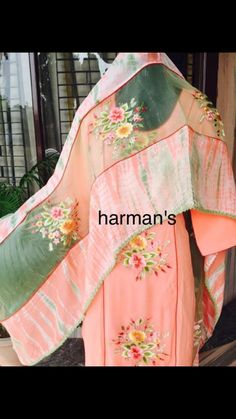 Ladies Suits Indian, Suits For Women, Clothes For Women, Embroidery Suits Punjabi, Embroidery Suits Design, Hand Painted Dress, Painted Clothes, Designer Punjabi Suits, Indian Designer Wear