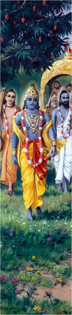 Lord Krishna & Sages-http://www.krishnalilas.com/82-draupadi-meets-the-queens-of-krishna.htm