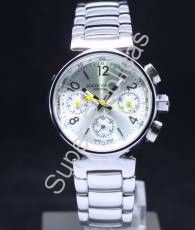 LOUIS VUITTON Full SS, Silver Arabic and Bar Hour Markers on Silver Chronograph Dial Ladies  Model #: 6LOV005      $195.00