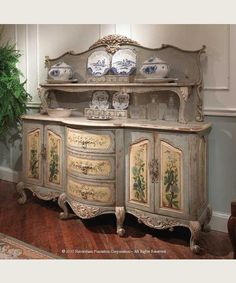 Idea...Use a bed head and foot board to turn a dresser into a sideboard...La Claire Buffet Server <3