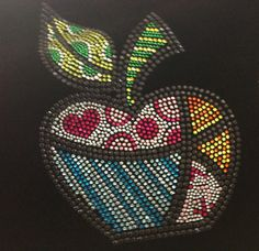 Rhinestone Transfer Apple Design Rhinestone Iron On Hot Fix Heat Transfer Motif Bling Appliqué - DIY