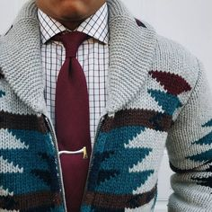 "bows-n-ties: "" Worsted wool tie, axe tie bar and a stylish sweater. """