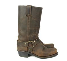 Frye Brown Leather & Gold Ring Harness Classic Western Boots Size 9M Retail $278 #Frye #CowboyWestern