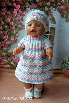 Baby Knitting Patterns Dress Sets on Baby Born / Clothes for dolls / Shopik …. Knitting Dolls Clothes, Knitted Dolls, Doll Clothes Patterns, Doll Patterns, Baby Born Clothes, Bitty Baby Clothes, Baby Born Kleidung, Manequin, Baby Milestone Blanket