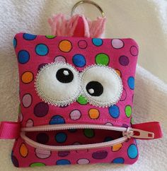 monster zipper pouch paci holder Easter basket change by Kntry5, $6.99