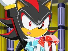 Shadow the Hedgehog from Sonic X, episode 35 (So THAT'S what the large hands are for...)