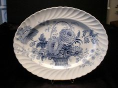 Clarice Cliff Charlotte Transfer Ware Blue & White Oval Platter