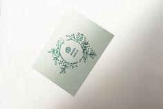 ELI botanical birth announcement in greens by studio sijm
