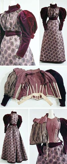 Gorgeous purple gown velvet legomutton sleeves 1890s ? Victorian