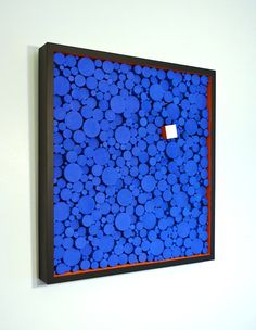 'A Blockwork Orange' bright, colorful modern and contemporary wooden wall art. #blue #orange #woodart