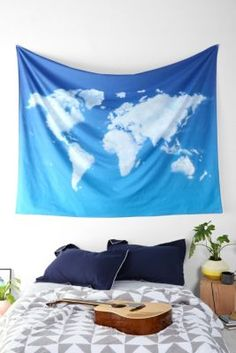 4040 Locust Cloud Map Tapestry blue clouds world map tapestry urban outfitters