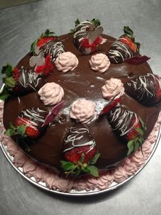 Strawberry mousse filling , rumchata cream cheese frosting and ganache.
