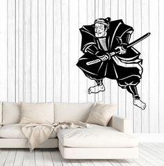 Wall Vinyl Decal Funny Warrior Asian Samurai with Sword Interior Decor z4692