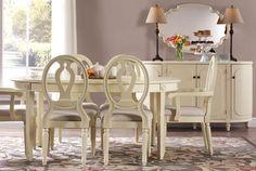 Martha Stewart Living™ Ingrid Dining Table, Chairs & Buffet with Martha Stewart Living™ Block Print Rose Area Rug. HomeDecorators.com