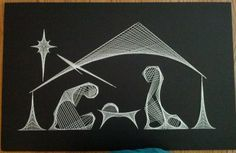 String art nativity scene. Item is hand strung on black foam board with crochet thread. Finished size is 28x18 . Item is unframed.