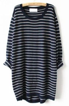 Navy White Striped Long Sleeve Loose Sweater