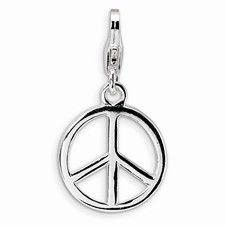 Sterling Silver Small Polished Peace Sign Charm