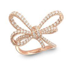 LYLA'S BOW RING Set in 18K rose gold Diamonds GVS x102 =1.25 carats