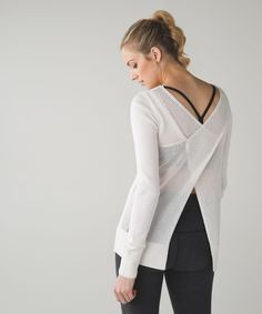 Release Date: 5/2016. Original Price: $128. Materials: Boolux. Leave the back on this pullover open for extra airflow when your practice heats up then button it up for a post-sunset Savasana.   Boolux™Boolux™ fabric is a blend of cashmere, TENCEL® and rayon from bamboosuper softMeshThe back of this top is lightweight, sweat-wicking Mesh fabric to help keep you coolbreathablelightweightsweat-wicking
