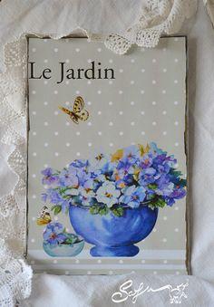 Collage digitale-le jardin-acquerello violette-vaso di SafuArt