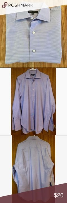 Purple stripe dress shirt Men's size 15 1/2 neck, 34 length. Subtle purple and white striped design. In perfect condition. Has holes for cuff links on sleeves. Robert Talbott Shirts Dress Shirts