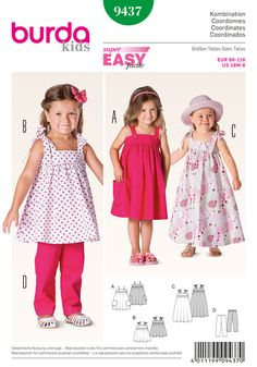 Stylish sleeveless dresses in different lengths, buttoned on the yoke, with gathered swingy skirts. A with nice pockets and buttoned straps. BC with tied straps. Pants with elastic waistband in a matching color.