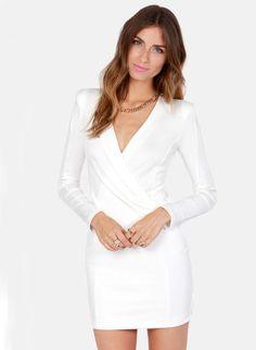 White Long Sleeve V Neck Bodycon Dress 18.99