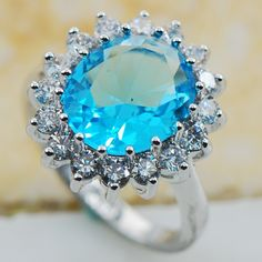Simulated Aquamarine 925 Sterling Silver Top Quality Fancy Jewelry wedding  Ring Size 5 6 7 8 9 10 11 F1170
