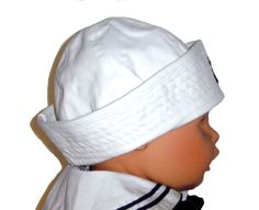 Classic White Dixie Cup Style Sailor Hat with Embroidered Anchor for Babies and Toddlers $15.00