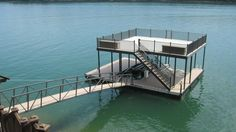 Wahoo floating aluminum double-slip boat dock with sun deck and ...