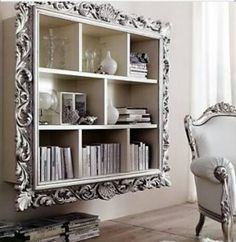 Have a bunch of old, large picture frames to turn into bookcases.....
