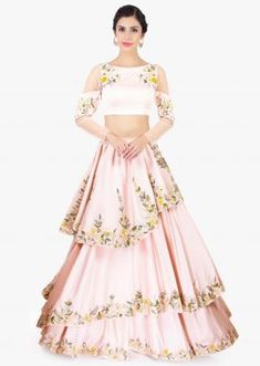 Powder pink multi layered crepe skirt paired with floral embroidered crop top only on Kalki Lehenga Crop Top, Lehenga Blouse, Bridal Lehenga Choli, Sabhyasachi Lehenga, Floral Lehenga, Anarkali, Saree, Indian Gowns, Indian Outfits