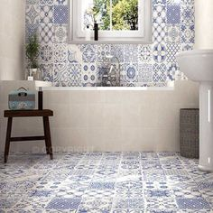 **Using same tiles on floor on walls - Calke Blue Bathroom Wall Tiles supplied by Tile Town. Discounted Moresque Effect Bathroom Wall Tiles Spanish Bathroom, Spanish Style Bathrooms, Spanish Tile, Bad Inspiration, Bathroom Inspiration, Bathroom Floor Tiles, Tile Floor, Bathroom Shelves, Bathroom Vanities