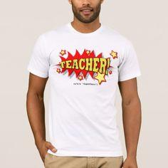 Red and Yellow Comic Burst Teacher Superhero T-Shirt