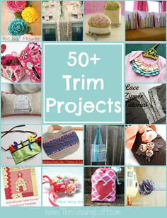 Sewing Craft Project 50 Trim Projects to help you sew through your stash! The Sewing Loft - If you have left over bits of trim in your studio this round up is for you! 50 trim projects to help inspire you. Many include free patterns. Easy Sewing Projects, Sewing Hacks, Sewing Tutorials, Sewing Crafts, Craft Projects, Sewing Patterns, Diy Crafts, Skirt Patterns, Sewing Tips