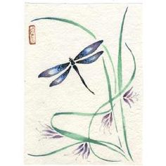 Gorgeous Dragonfly original painting Chinese brush style sumi-e dragonfly art with purple lilies