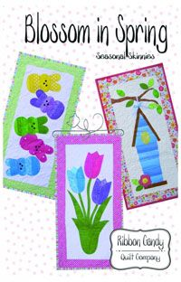 "Blossom In Spring Seasonal Skinnies Pattern by Ribbon Candy Quilt Company at KayeWood.com. Bring in Spring with the newest in the Seasonal Skinnies line. 3 wall quilts in one pattern. All projects use fusible web applique. Finished size of all quilts are 14"" x 28"" Make each one or multiples of one. No matter each Skinnie will bring a breathe of Spring in any room of your house. http://www.kayewood.com/item/Blossom_In_Spring_Seasonal_Skinnies_Pattern/38 $9.0084"