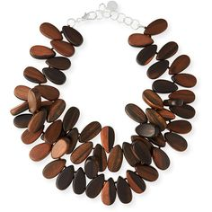 NEST Jewelry Tiger Ebony Wood Cluster Necklace ($295) ❤ liked on Polyvore featuring jewelry, necklaces, collane, brown, wood chain necklace, strand necklace, tiger jewelry, chain necklace and cluster necklace