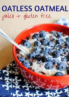Oatmeal -- An easy, gluten free recipe for voluminous oatless oatmeal that is satisfying and Paleo and Whole 30 friendly!Paleo Oatmeal -- An easy, gluten free recipe for voluminous oatless oatmeal that is satisfying and Paleo and Whole 30 friendly! Whole 30 Breakfast, Healthy Breakfast Recipes, Healthy Recipes, Paleo Food, Paleo Pizza, Eating Paleo, Paleo Bread, Paleo Diet, Breakfast Ideas