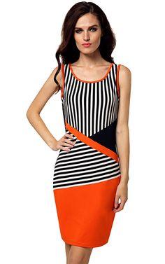 BlackWhite New Stylish Ladies Women Sleeveless Round Neck Black and White Striped Casual Work Dresses