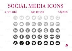 Social Media Icons Set Gray Black Download Social Media Buttons, Social Media Icons, Icon Set, This Or That Questions, Website, Gray, Blog, Grey, Social Icons