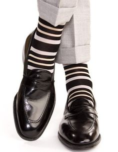 Black with Ash and Tan Double Stripe Socks Linked Toe Mid-Calf - mid-calf…